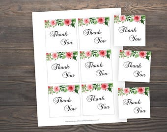 Thank you favor tags, Baby Shower Printable Tags, Floral Favor Tags, Floral Baby Shower, Thank You Tag, Baby Shower Favor Tags, GRPF7