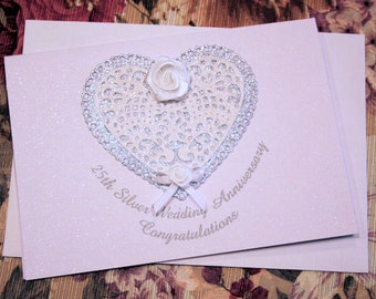 25th Silver Wedding Anniversary Congratulatory Sparkling Glitter Card, Celebrations, Momento, Hearts, Flowers and Bling Card