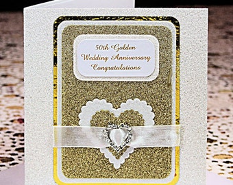 50th Golden Wedding Anniversary with layered White and Gold Glitter Card with Swarovski Diamonte Heart