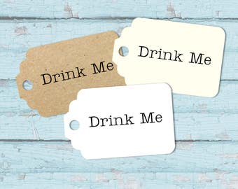 10 Wedding / Party Favour Tags, Drink Me - Small Luggage Shaped Tag