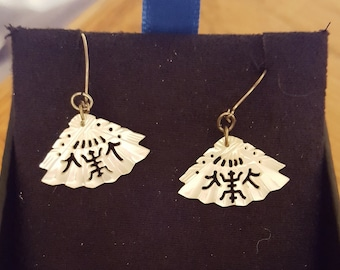 mother of pearl fan earrings