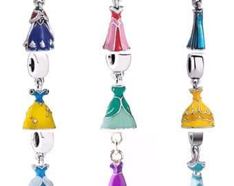 Disney Princesses Dress Bead Dangle for Floating Charm Living Locket, European Bead Bracelet or to Put on Any Chain Elsa, Anna, Belle, Ariel