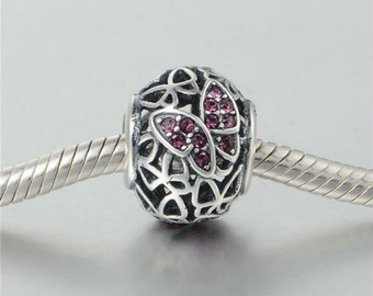 Authentic Sterling silver Butterfly charm beads perfect fit for pandora and troll or european bracelets