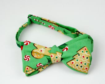 Christmas Tree and Gingerbread Man Bowtie