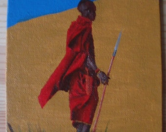 """ORIGINAL PAINTING    Small 7x5"""" Acrylic on canvas - Maasai warrior painting, African art, fine art, canvas painting, tribal painting"""