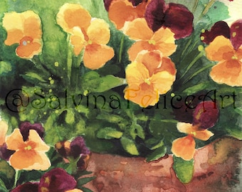 """Fine Art print floral, from my original painting to watercolor """"violets in vase"""", watercolor painting, art, flowers painting, painting"""