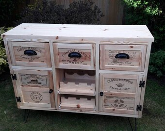 pine sideboard, wine , unit, bar, storage, chest of drawers, tv  cupboard ,drawers,hairpin legs.