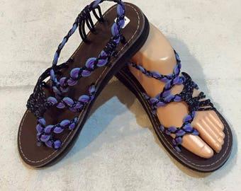 Handmade Sandals - blue violet