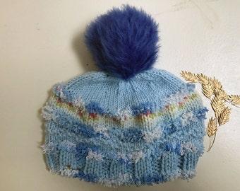 Blue Hand-Knit Girl's Winter Pompom Hat