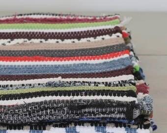 SMALL Woven Rag Rug, Handwoven Carpet, Handwoven Rug, Throw Rug, Boho Rug