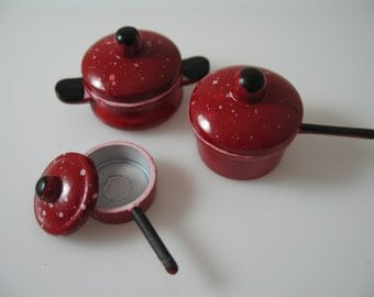 Dolls House Miniature Red Saucepan Sets-3pcs