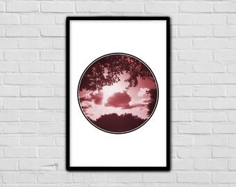 Modern Print - Red - Sunny - Geometric Nature Print - Silhouette - Trendy Print - Simple Art - Clouds - Fun Art Print - Wall Decor - Digital