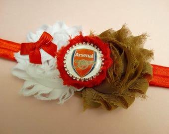 Arsenal inspired Headband, Soccer Headband, Football Headband, Arsenal inspired Baby Headband