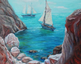Harbor for two Painting Original Oil Painting On Canvas Painting Home Interior Wall Art Canvas Ships Art Sea Seascape Impressionism Painting