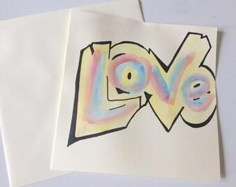 Love Watercolour Card // Graffiti Watercolour Card // Birthday Card // Anniversary Card // Valentine's Day Card // Wedding Card //