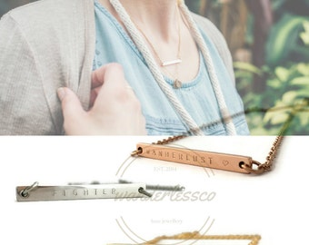 21st Birthday Gift For Daughter, 21st Birthday Ideas, 21st Birthday Gift For Her, 21st Birthday Bar Pendant Necklace