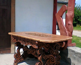 Handcrafted dining table and 4 chairs