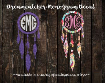 Dreamcatcher Decal, Monogram Decal, Yeti Decal, Tumbler Decal