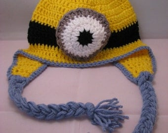 Minion crochet ear flap hat