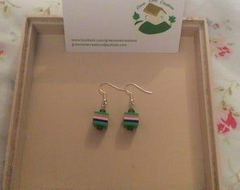 Green Candy Stripe Earrings