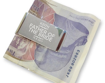 Personalised engraved father of the bride MONEY CLIP wedding gift, thank you - silver plated  - WE6