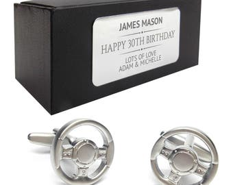 Car steering wheel CUFFLINKS 30th, 40th, 50th, 60th, 70th birthday gift, presentation box PERSONALISED ENGRAVED plate - 050