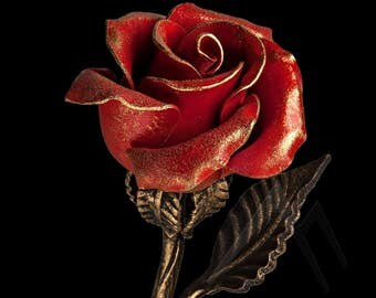 Red Metal Rose - 6th Anniversary Gift /Steel Rose, Wrought Iron Rose