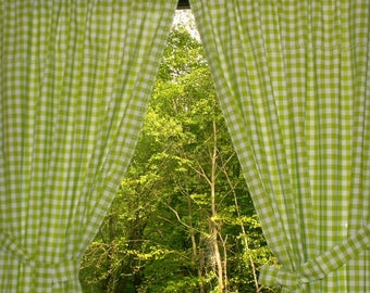 light green white checkered cottage curtain set with * embroidery *.