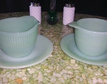 Vintage Fire King Jadeite (Jane Ray) Creamer and Sugar Set with two Vintage Fire King Jadeite (Jane Ray) saucers