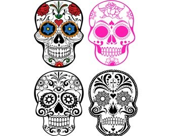 Sugar skull SVG files for Cricut Silhouette cameo files designs Vector art PNG Sugar skull cake topper Cuttable SVG