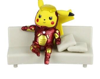 Iron Man Pikachu Figurine, Pokemon Marvel Avengers Figure Collectible Model Toy