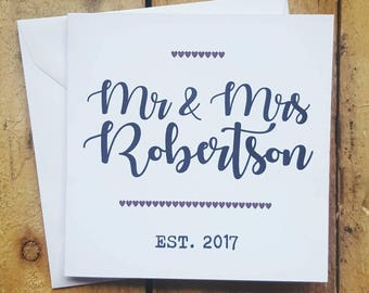 Personalised Mr and Mrs card - wedding card - Handmade card - newly wed card - personalised surname card - wedding card - engagement card