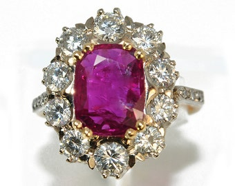 Ring yellow gold 18K Diamond and Ruby marguerite