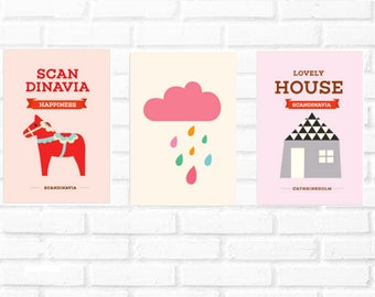 Scandinavian wall print/house print/cloud illustration/horse print set/Nordic wall/kids baby print/girl wall robot print set/Scandinavian