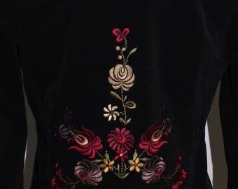 Black embroidered back fine corduroy blazer / jacket.  By Cynthia Steffe