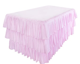 Ruffle Shabby Chic Layer 3 Tier Fitted Banquet Tablecloth