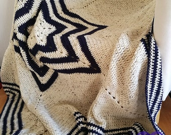 Crochet star blanket, Crochet star afghan, Handmade blanket, Crochet throw, Handmade throw, Large blanket, Vintage, Vintage crochet,