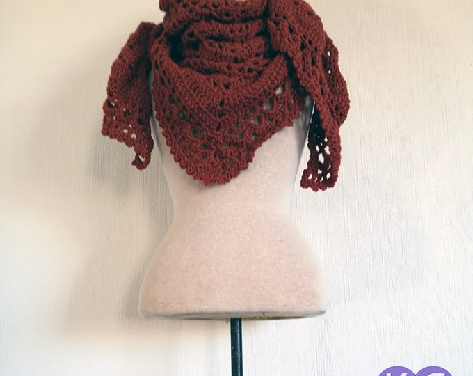Crochet Shawl, Crocheted Shawl, Rust Shawl, Gift for Him, Gift for Her, Wraps Shawls, Burnt Red Shawl, Hand Crocheted, Meditation Shawl,