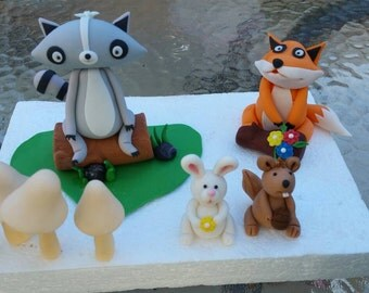 Handmade Edible Woodland Creatures Cake Toppers Raccoon Fox Bunny Squirrel