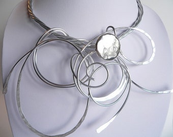 Silver wire statement necklace Wearable art Bold and Funky Unique