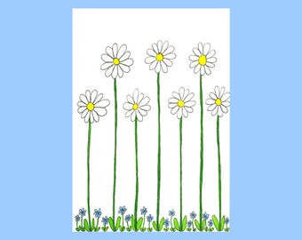 Daisies with Forget-me-nots. Hand drawn card.