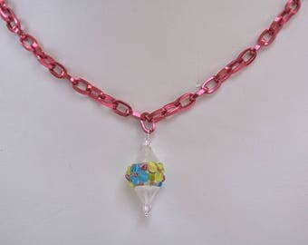 Floral Lampwork Glass Bead Necklace with Pink Aluminum Chain