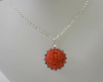 Red Resin Peony Necklace