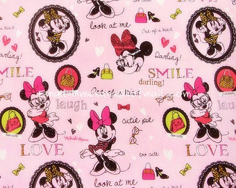 mi913 - 1 Yard SDLP Cotton Woven Fabric - Cartoon Characters, Minnie Mouse and Glasses - Pink (W140)