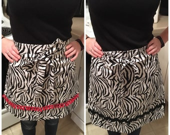 Set of Two Zebra Print Pillowcase Aprons with Black Rickrack and Red PomPom Trim