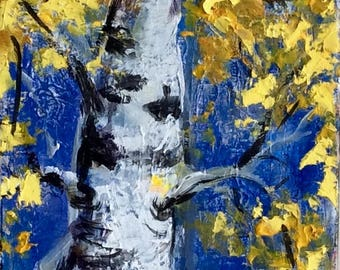 """Aspen Tree Abstract Painting Original Painting 36 x 12"""""""