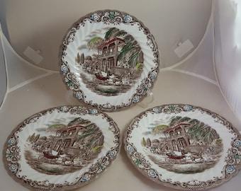 Johnson Brothers Heritage Hall 3 Salad Plates Brown Polychrome