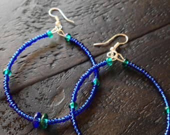 Royal Blue hoops with Aqua accents