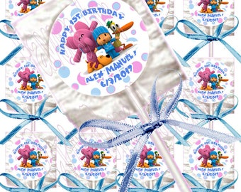 Pocoyo PERSONALIZED Lollipops, Custom Name and Birthday , 12 pcs with Blue Ribbon Bows, 4 in lollipop, 1.5 in diameter