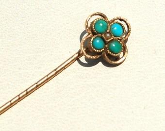 Victorian Era Hallmarked 14K and Turquoise Stick Pin